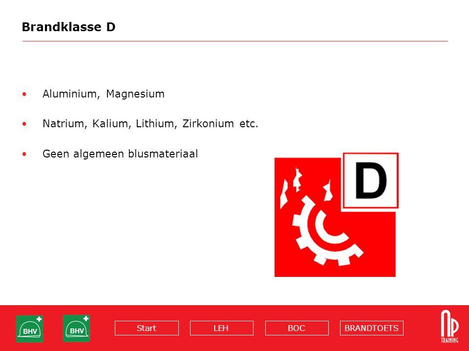 BRANDTOETSBOCLEHStart Brandklasse D Aluminium, Magnesium Natrium, Kalium, Lithium, Zirkonium etc. Geen algemeen blusmateriaal