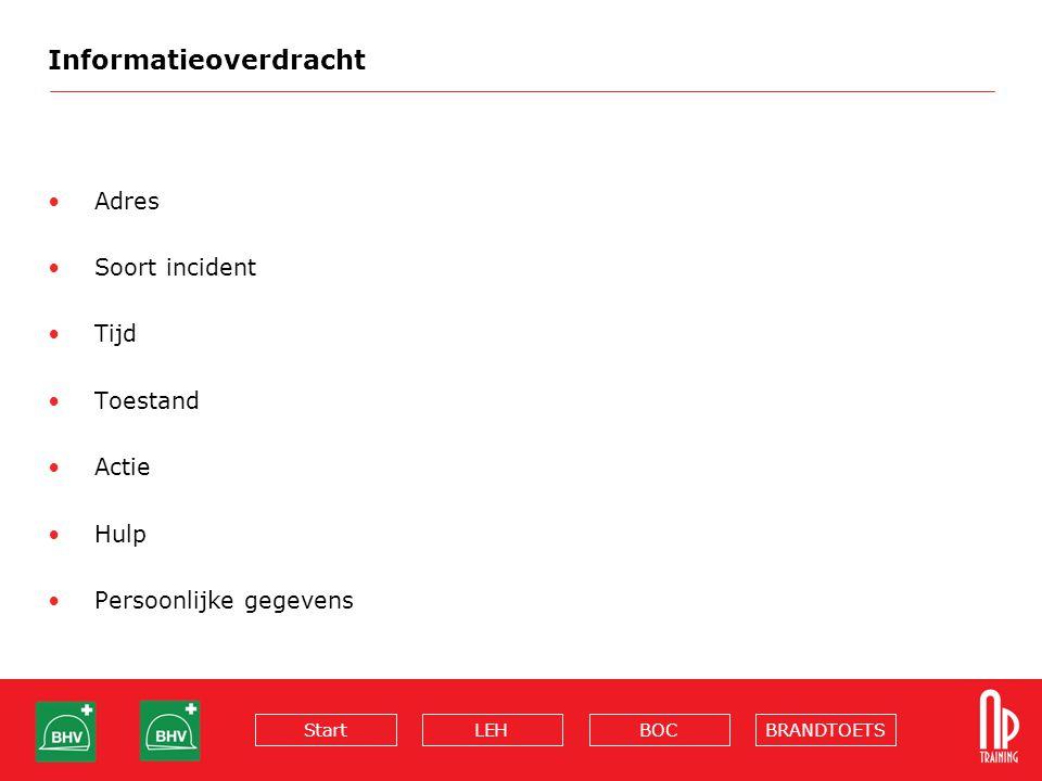 BRANDTOETSBOCLEHStart Informatieoverdracht Adres Soort incident Tijd Toestand Actie Hulp Persoonlijke gegevens