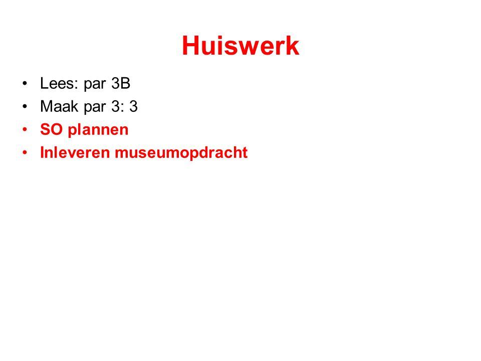 Huiswerk Lees: par 3B Maak par 3: 3 SO plannen Inleveren museumopdracht