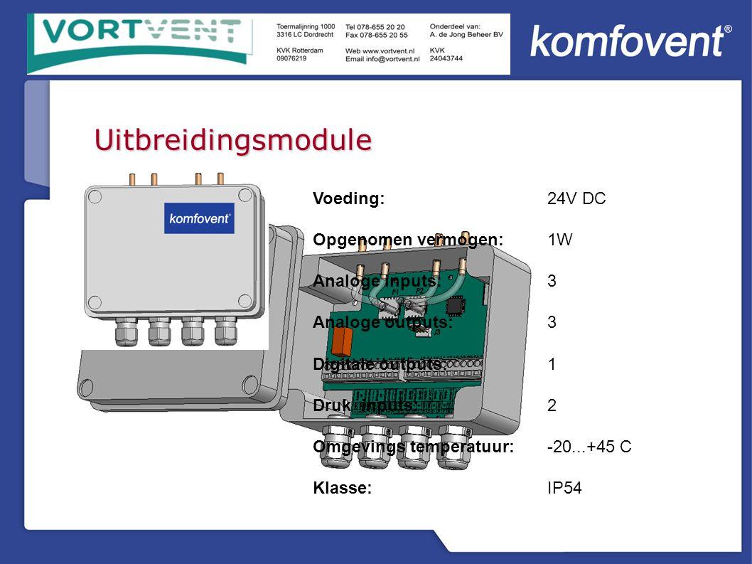 Uitbreidingsmodule Voeding: 24V DC Opgenomen vermogen:1W Analoge inputs:3 Analoge outputs:3 Digitale outputs:1 Druk inputs:2 Omgevings temperatuur:-20...+45 C Klasse:IP54