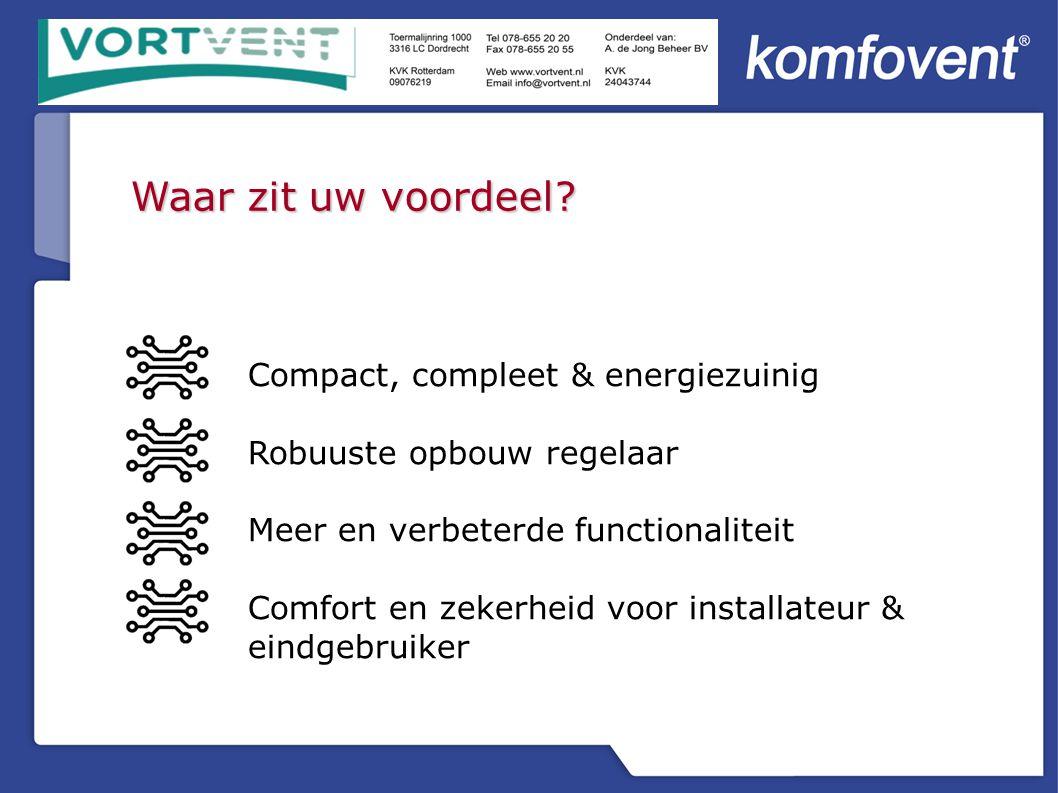 Compact, compleet & energiezuinig Robuuste opbouw regelaar Meer en verbeterde functionaliteit Comfort en zekerheid voor installateur & eindgebruiker Waar zit uw voordeel?