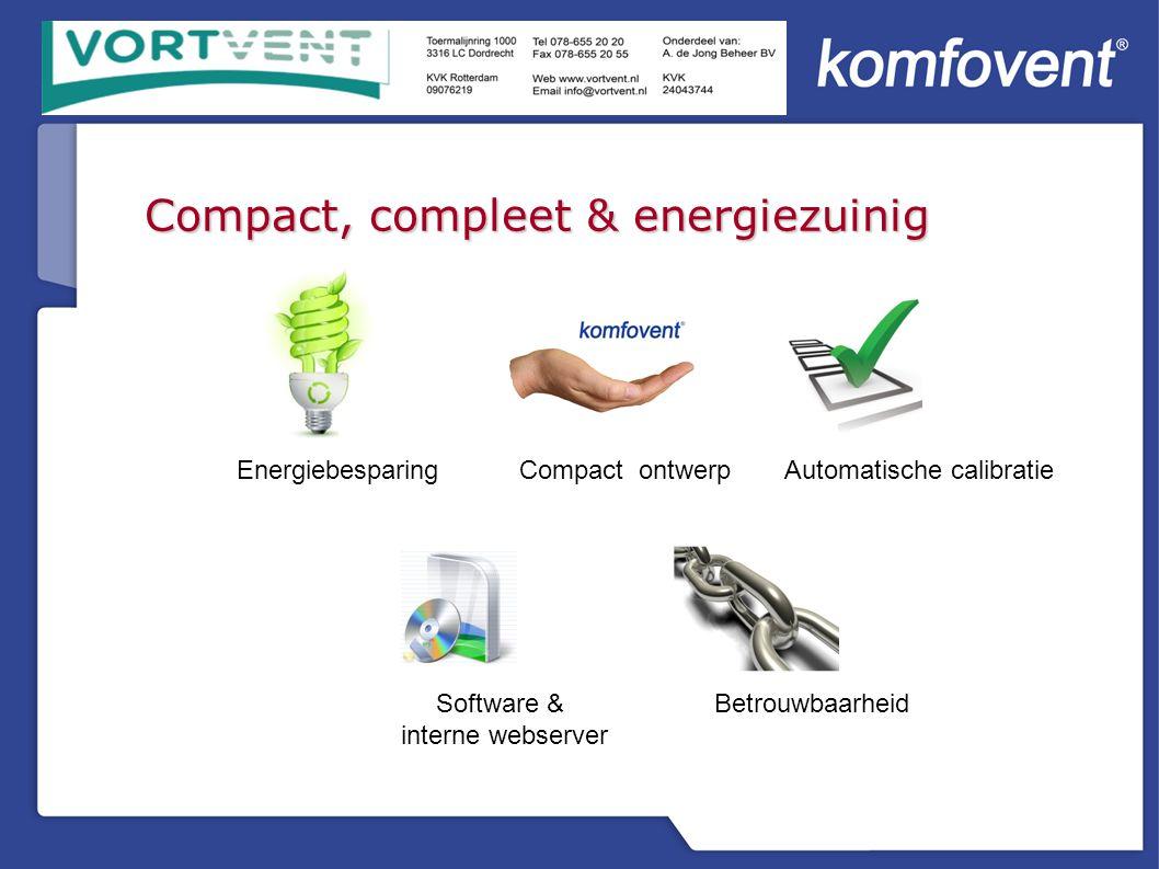 Compact, compleet & energiezuinig EnergiebesparingCompact ontwerpAutomatische calibratie BetrouwbaarheidSoftware & interne webserver
