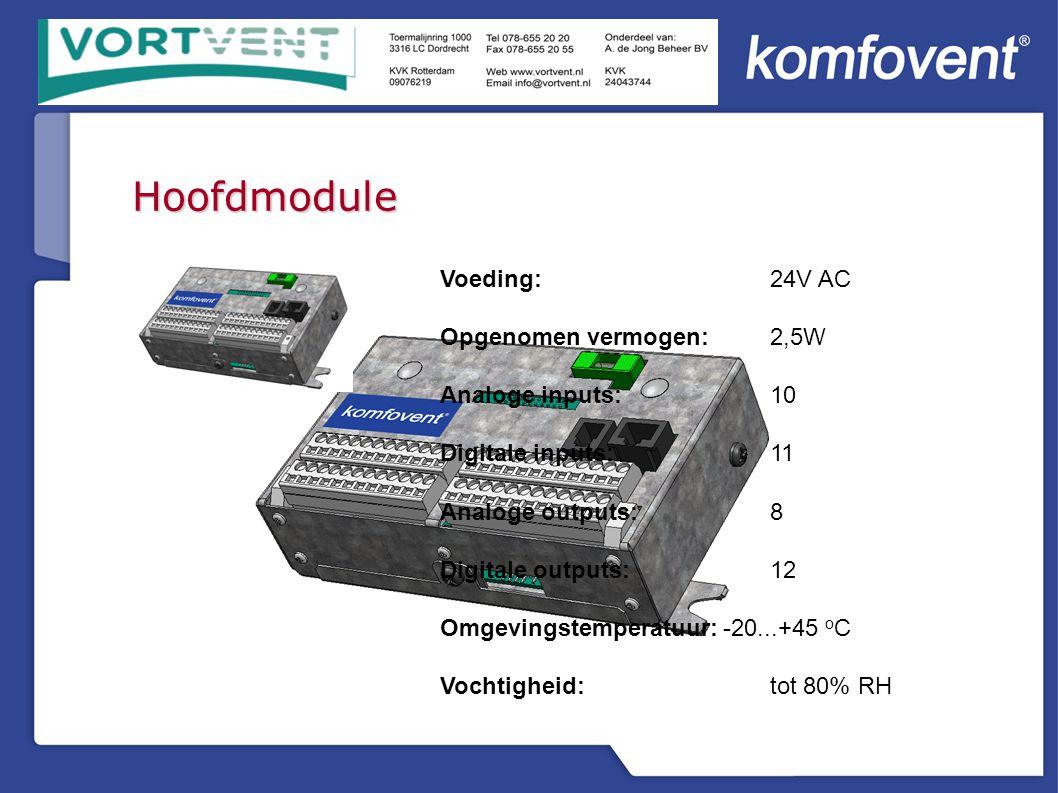 Hoofdmodule Voeding: 24V AC Opgenomen vermogen:2,5W Analoge inputs:10 Digitale inputs:11 Analoge outputs:8 Digitale outputs:12 Omgevingstemperatuur:-20...+45 o C Vochtigheid:tot 80% RH