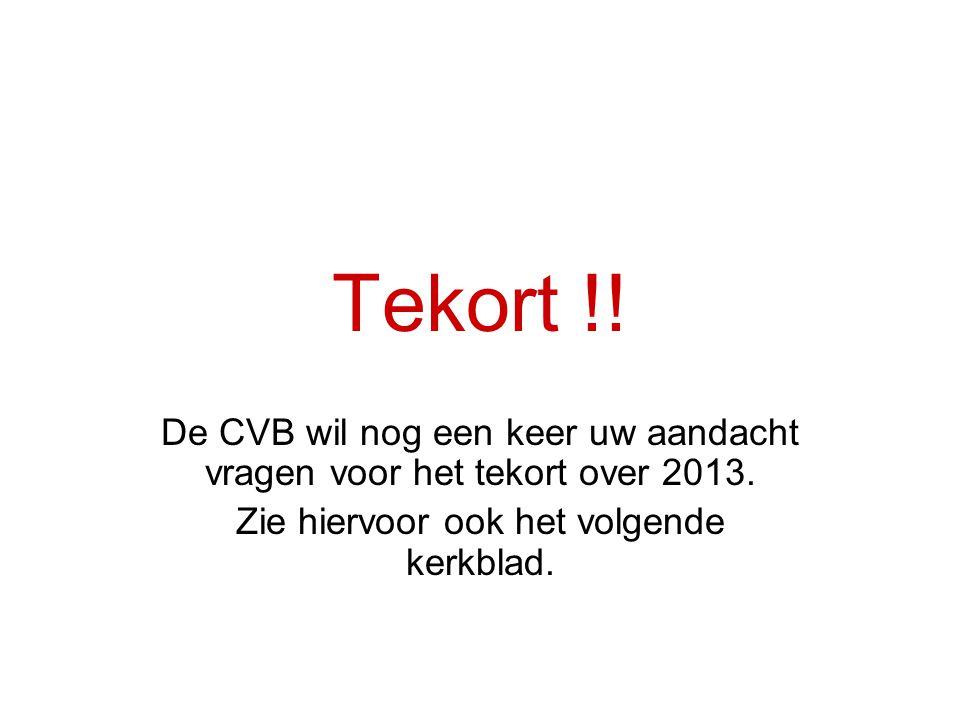 Tekort !. De CVB wil nog een keer uw aandacht vragen voor het tekort over 2013.