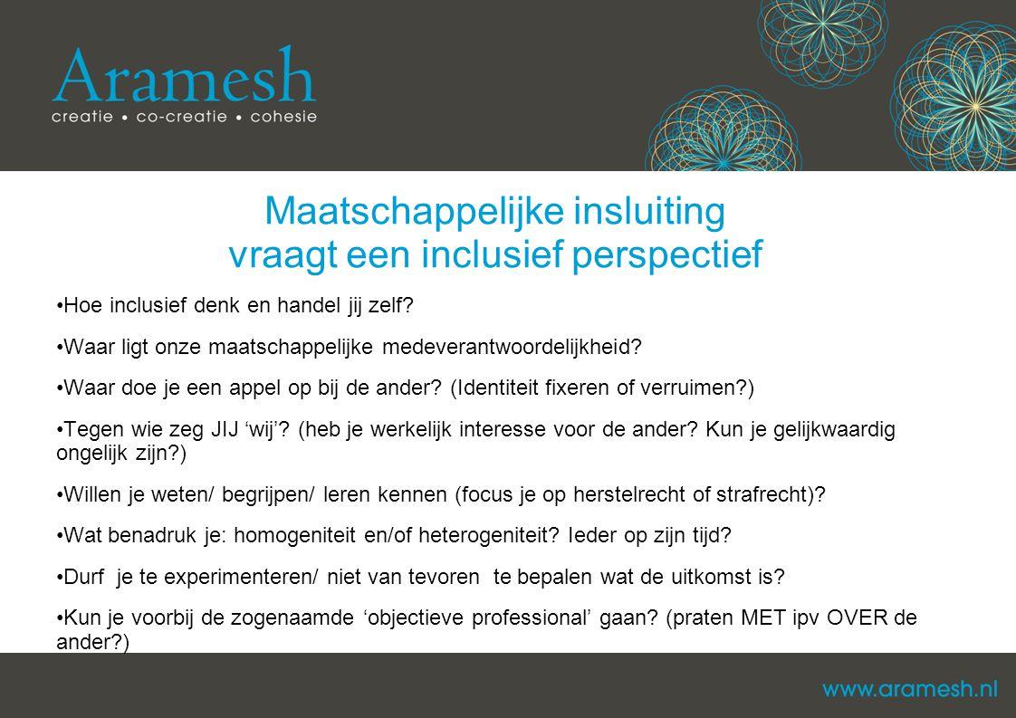 Maatschappelijke insluiting vraagt een inclusief perspectief Hoe inclusief denk en handel jij zelf? Waar ligt onze maatschappelijke medeverantwoordeli