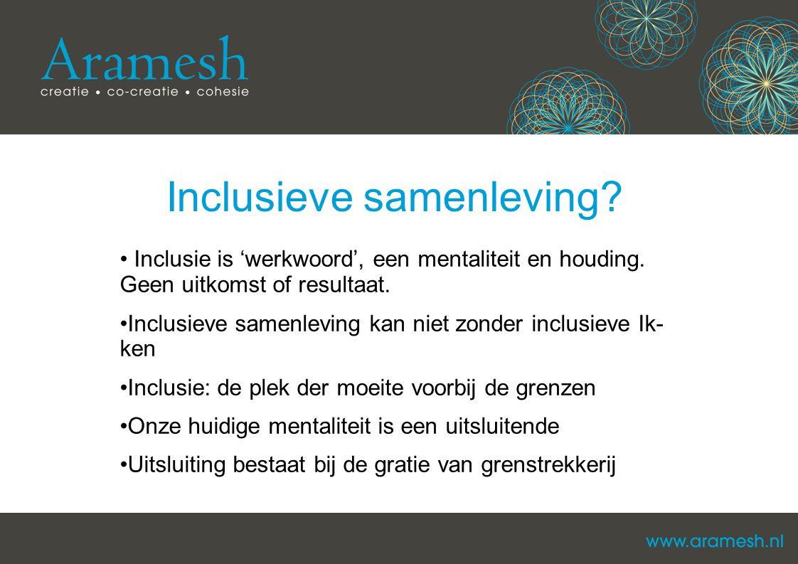 Inclusieve samenleving? Inclusie is 'werkwoord', een mentaliteit en houding. Geen uitkomst of resultaat. Inclusieve samenleving kan niet zonder inclus