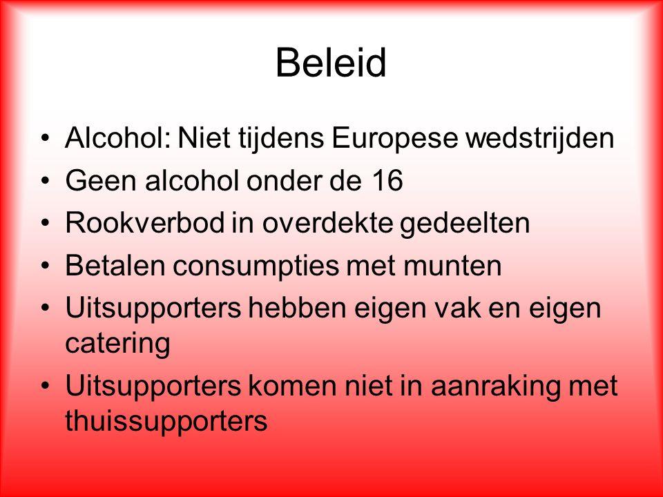 Beleid Alcohol: Niet tijdens Europese wedstrijden Geen alcohol onder de 16 Rookverbod in overdekte gedeelten Betalen consumpties met munten Uitsupport