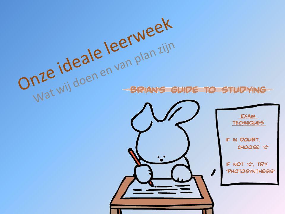 Onze ideale leerweek Wat wij doen en van plan zijn