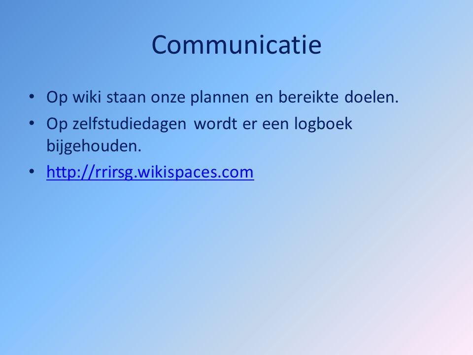 Communicatie Op wiki staan onze plannen en bereikte doelen.