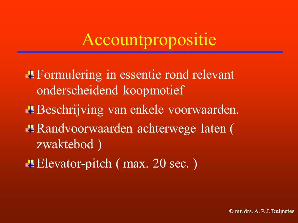 Accountpropositie Formulering in essentie rond relevant onderscheidend koopmotief Beschrijving van enkele voorwaarden.