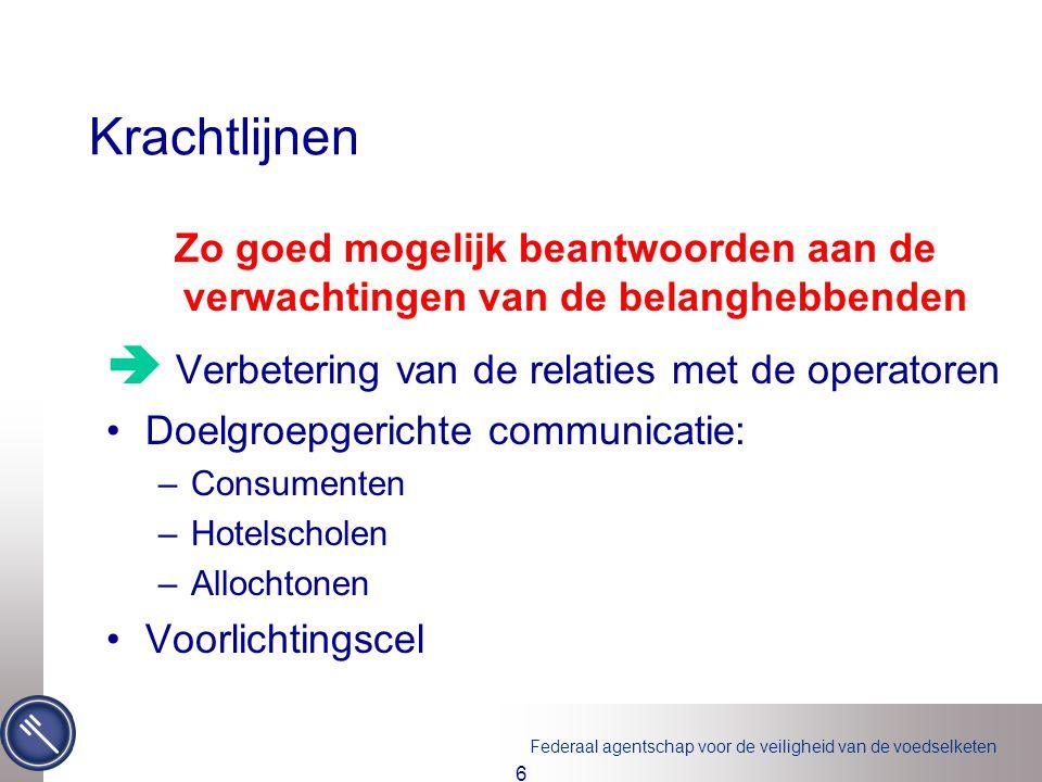 Federaal agentschap voor de veiligheid van de voedselketen 7 Krachtlijnen Zo goed mogelijk beantwoorden aan de verwachtingen van de belanghebbenden  Kwaliteitsgaranties voor de geleverde diensten Bevraging consumenten en operatoren ISO 9001 ISO 17.020 Duurzame ontwikkeling (EMAS) Interne audit Ombudsdienst