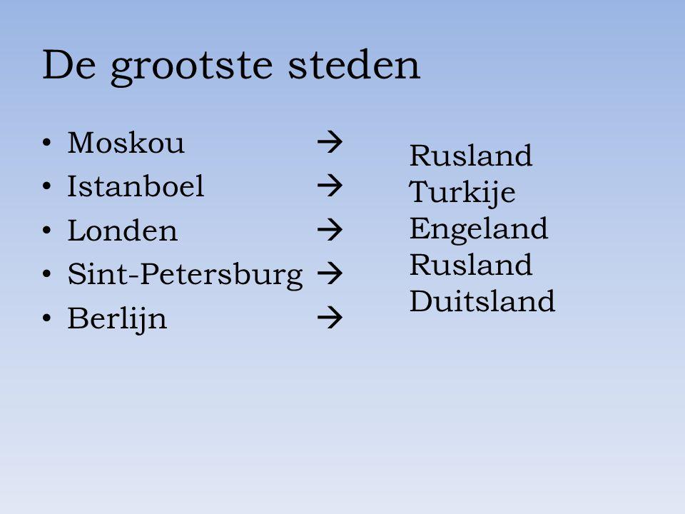 De grootste steden Moskou  Istanboel  Londen  Sint-Petersburg  Berlijn  Rusland Turkije Engeland Rusland Duitsland