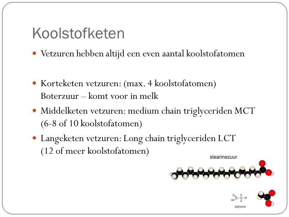 Koolstofketen Vetzuren hebben altijd een even aantal koolstofatomen Korteketen vetzuren: (max. 4 koolstofatomen) Boterzuur – komt voor in melk Middelk