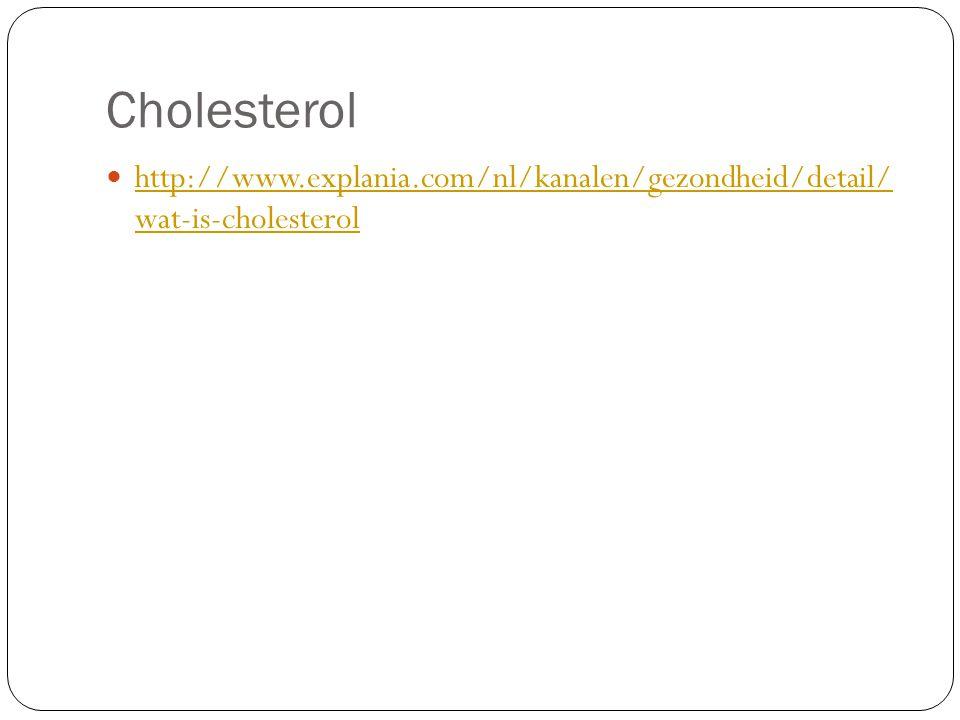Cholesterol http://www.explania.com/nl/kanalen/gezondheid/detail/ wat-is-cholesterol http://www.explania.com/nl/kanalen/gezondheid/detail/ wat-is-chol