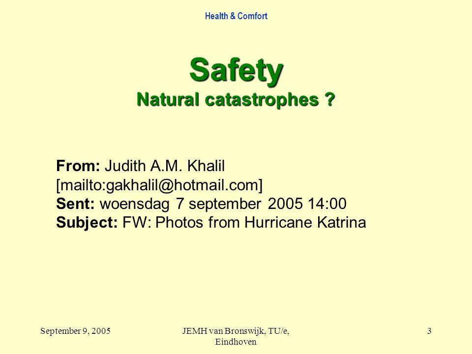 Health & Comfort September 9, 2005JEMH van Bronswijk, TU/e, Eindhoven 3 From: Judith A.M. Khalil [mailto:gakhalil@hotmail.com] Sent: woensdag 7 septem