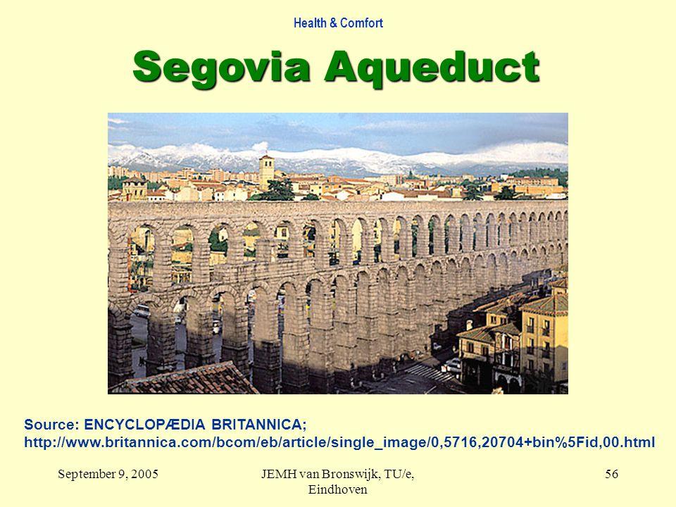 Health & Comfort September 9, 2005JEMH van Bronswijk, TU/e, Eindhoven 56 Segovia Aqueduct Source: ENCYCLOPÆDIA BRITANNICA; http://www.britannica.com/bcom/eb/article/single_image/0,5716,20704+bin%5Fid,00.html