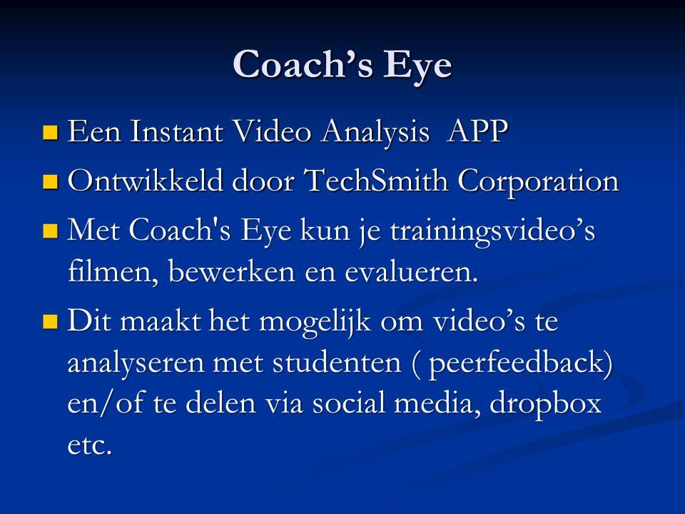Coach's Eye Een Instant Video Analysis APP Een Instant Video Analysis APP Ontwikkeld door TechSmith Corporation Ontwikkeld door TechSmith Corporation Met Coach s Eye kun je trainingsvideo's filmen, bewerken en evalueren.