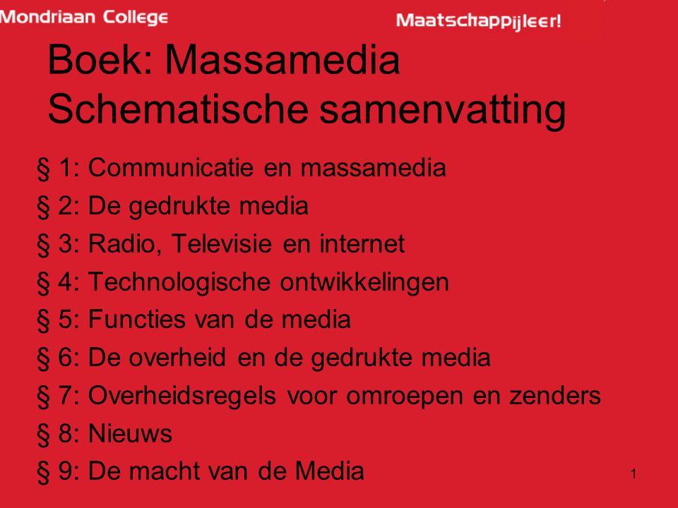 1 § 1: Communicatie en massamedia § 2: De gedrukte media § 3: Radio, Televisie en internet § 4: Technologische ontwikkelingen § 5: Functies van de med
