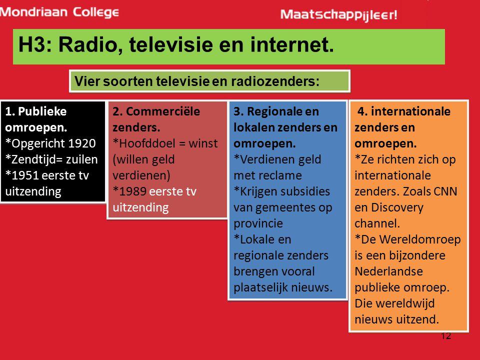12 H3: Radio, televisie en internet. Vier soorten televisie en radiozenders: 1. Publieke omroepen. *Opgericht 1920 *Zendtijd= zuilen *1951 eerste tv u