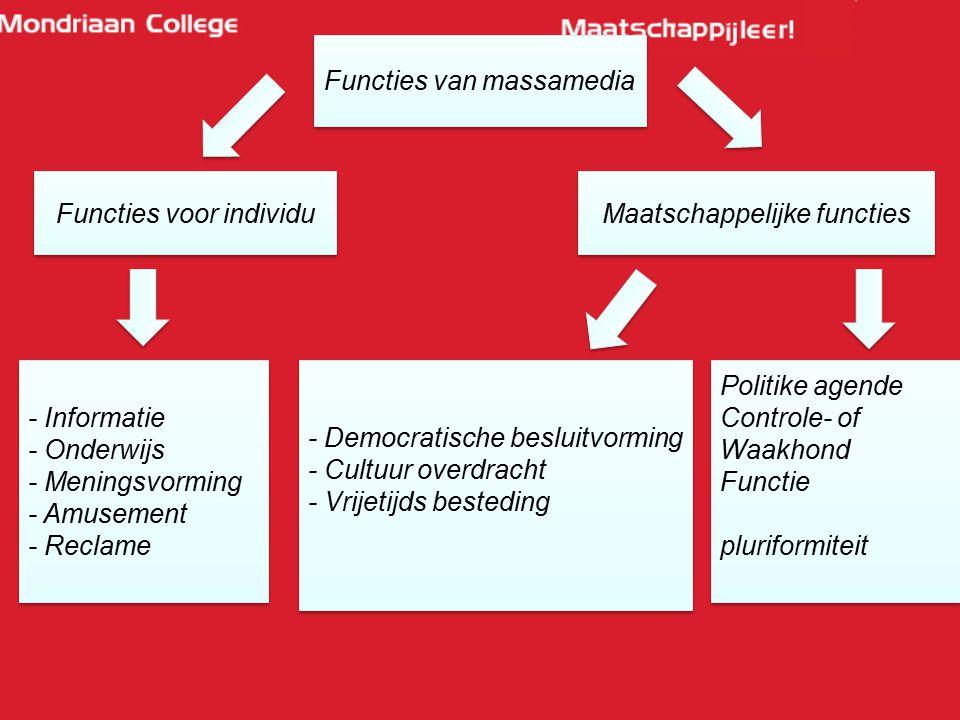 Functies van massamedia Functies voor individu Maatschappelijke functies - Informatie - Onderwijs - Meningsvorming - Amusement - Reclame - Informatie
