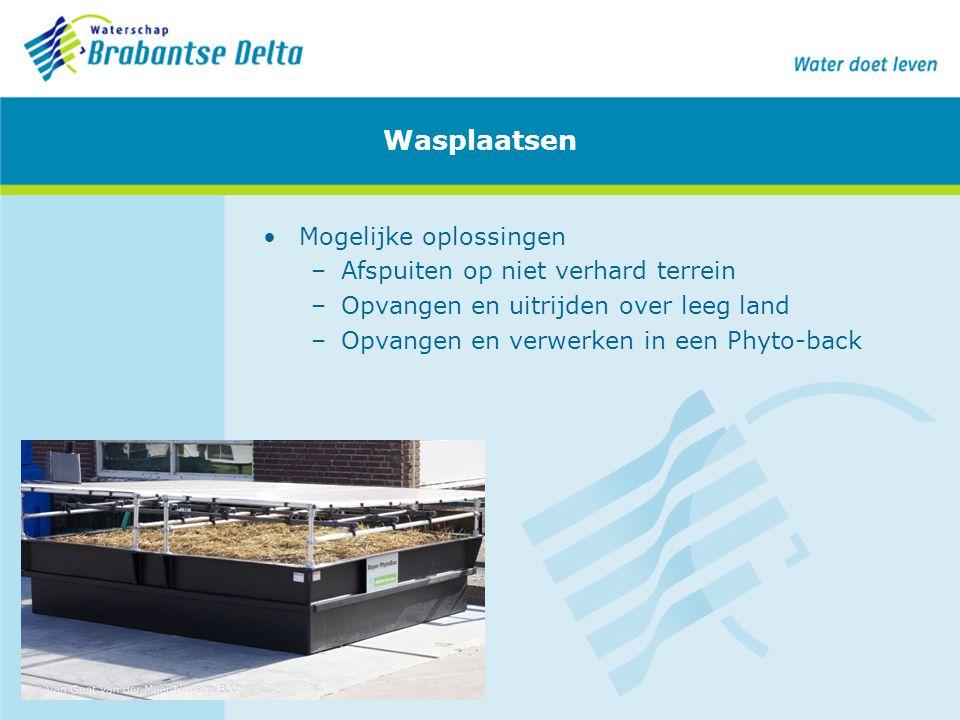 Wasplaatsen Mogelijke oplossingen –Afspuiten op niet verhard terrein –Opvangen en uitrijden over leeg land –Opvangen en verwerken in een Phyto-back