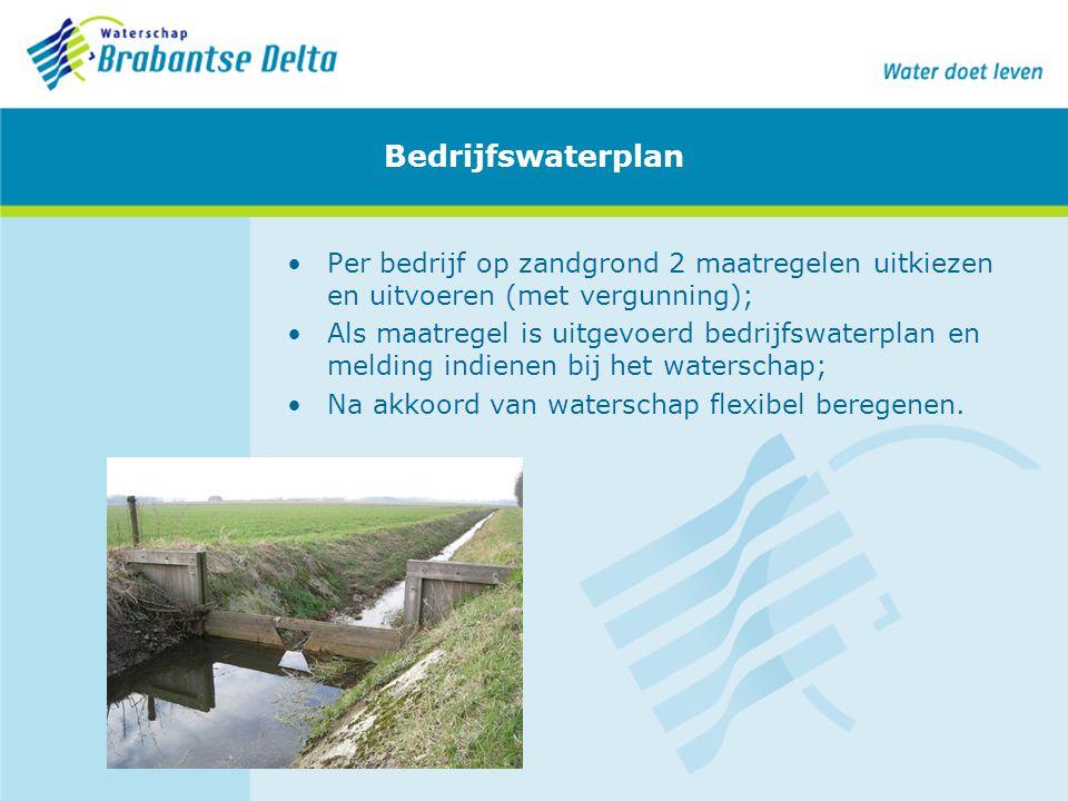 Bedrijfswaterplan Per bedrijf op zandgrond 2 maatregelen uitkiezen en uitvoeren (met vergunning); Als maatregel is uitgevoerd bedrijfswaterplan en mel