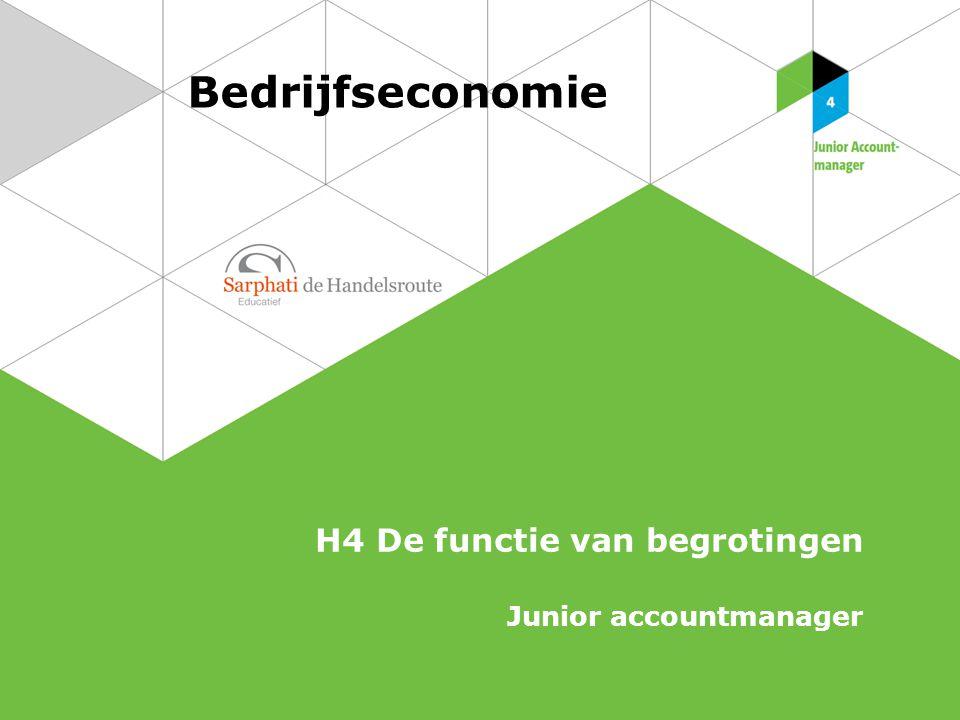 Bedrijfseconomie H4 De functie van begrotingen Junior accountmanager