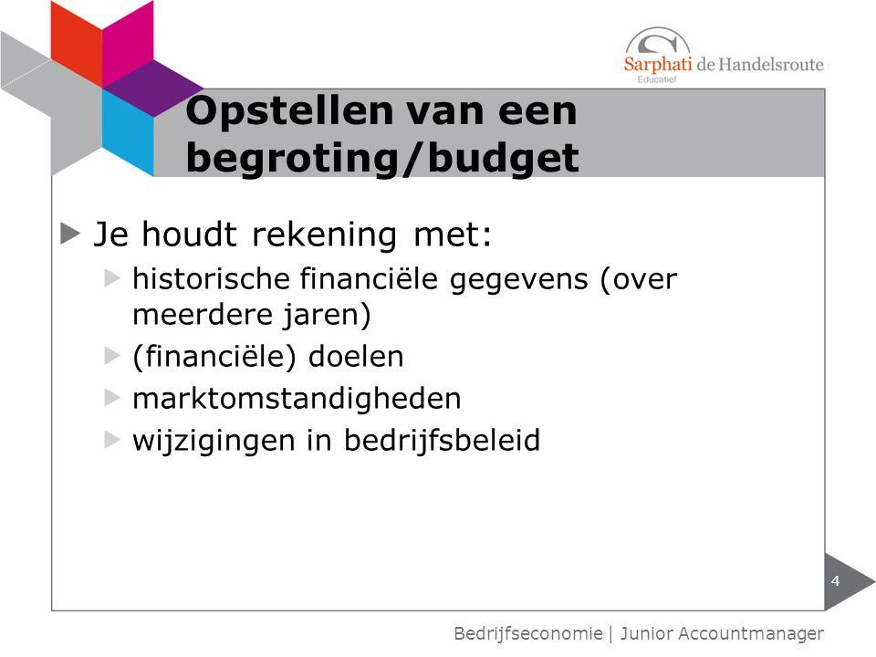 Er zijn verschillende soorten budgetten: vast budget variabel budget gemengd budget 5 Bedrijfseconomie | Junior Accountmanager Soorten budgetten