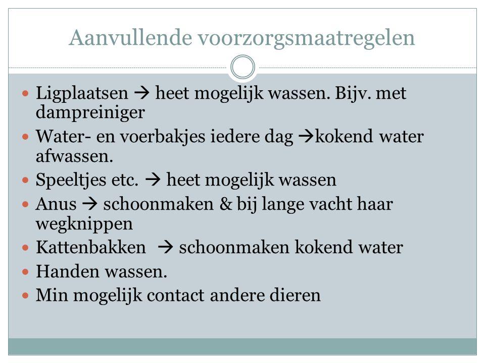Aanvullende voorzorgsmaatregelen Ligplaatsen  heet mogelijk wassen. Bijv. met dampreiniger Water- en voerbakjes iedere dag  kokend water afwassen. S