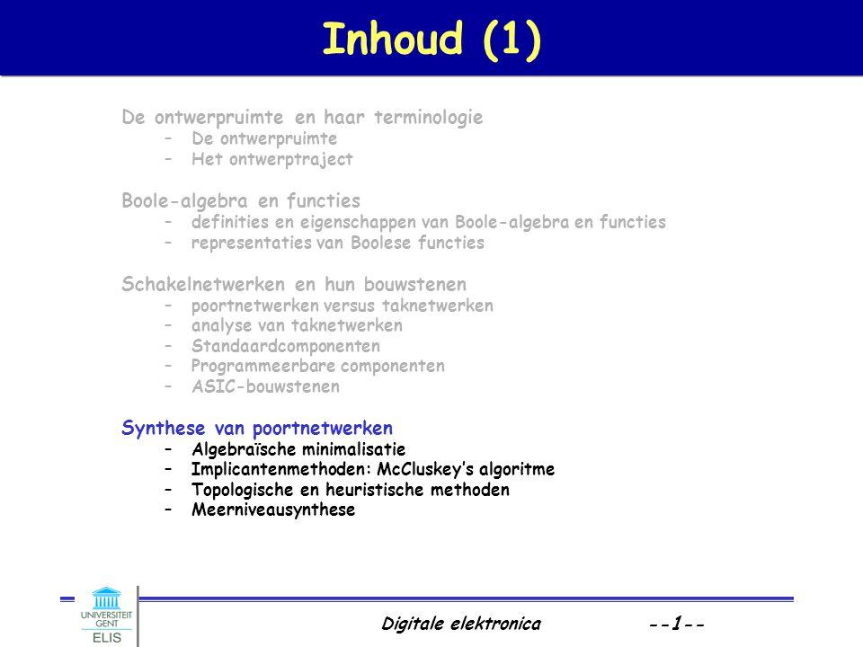 Digitale elektronica --1-- Inhoud (1) De ontwerpruimte en haar terminologie –De ontwerpruimte –Het ontwerptraject Boole-algebra en functies –definitie
