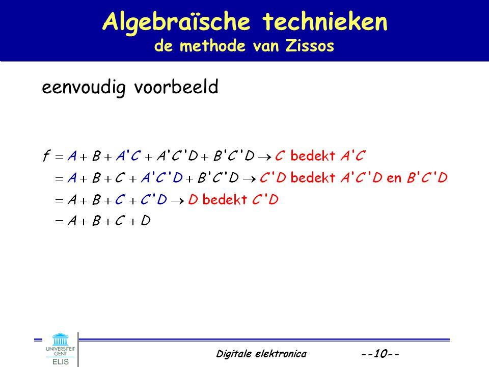 Digitale elektronica --10-- Algebraïsche technieken de methode van Zissos eenvoudig voorbeeld
