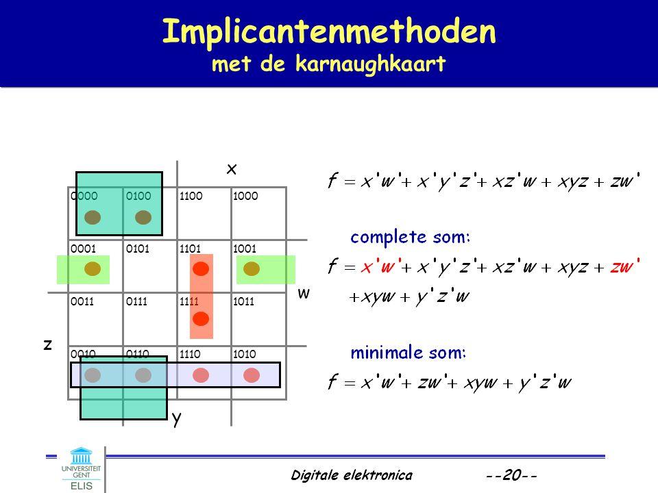 Digitale elektronica --20-- Implicantenmethoden met de karnaughkaart x y z w 0000 0001 0011 0010 0100 0101 0111 0110 1100 1101 1111 1110 1000 1001 101