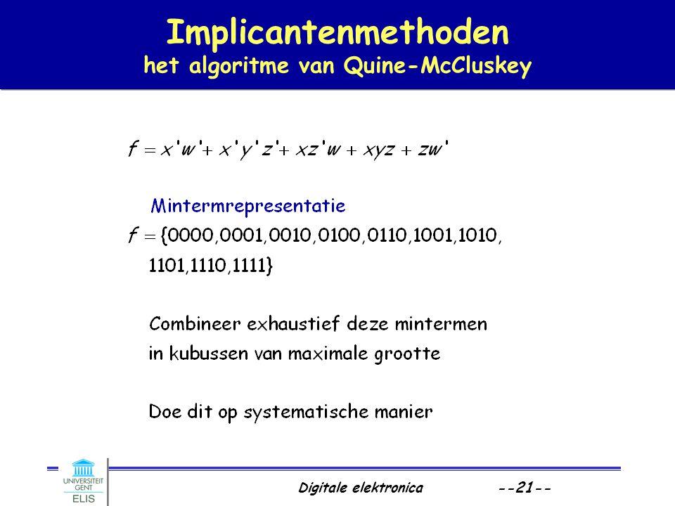 Digitale elektronica --21-- Implicantenmethoden het algoritme van Quine-McCluskey