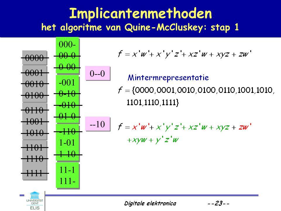 Digitale elektronica --23-- Implicantenmethoden het algoritme van Quine-McCluskey: stap 1 0000 0001 0010 0100 0001 0010 0100 0001 0010 0100 0001 0010