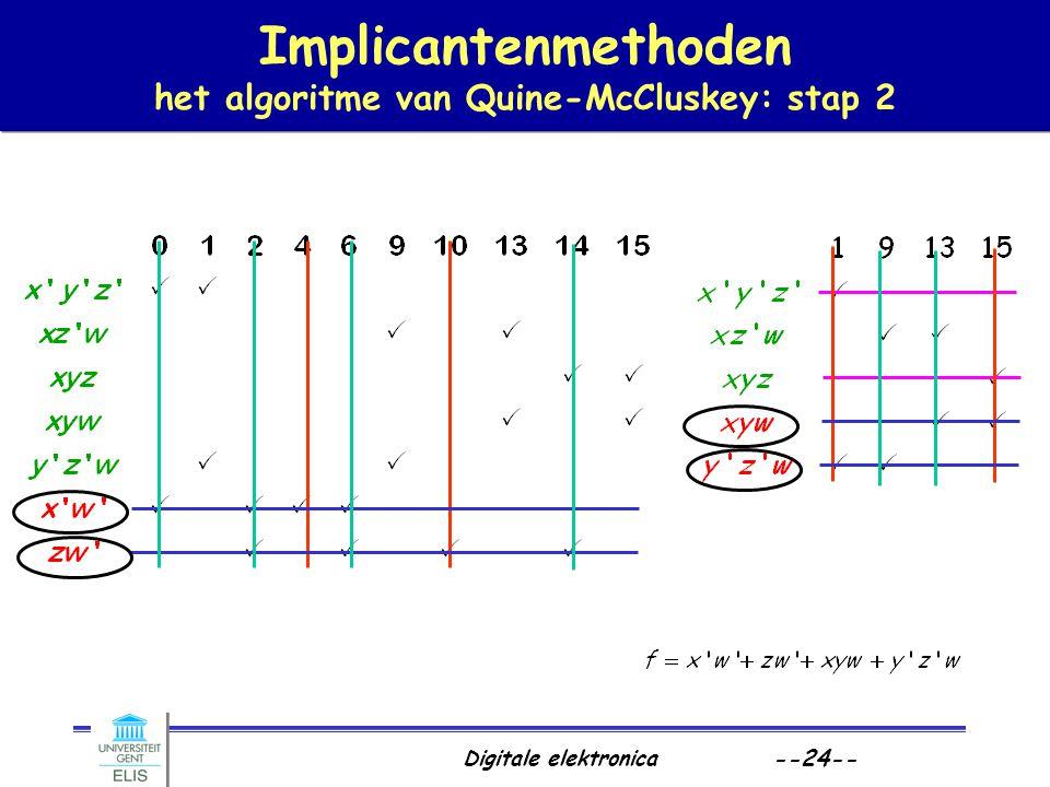 Digitale elektronica --24-- Implicantenmethoden het algoritme van Quine-McCluskey: stap 2
