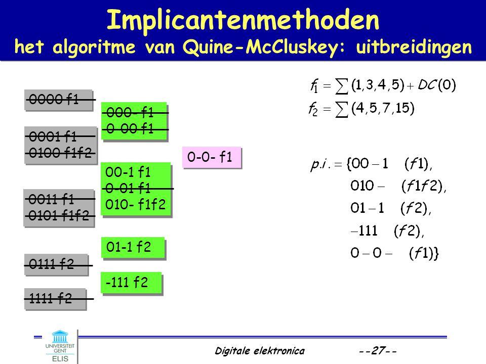 Digitale elektronica --27-- Implicantenmethoden het algoritme van Quine-McCluskey: uitbreidingen 0000 f1 0001 f1 0100 f1f2 0001 f1 0100 f1f2 0011 f1 0