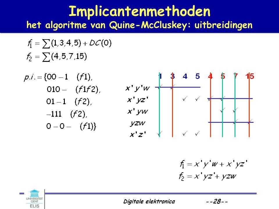 Digitale elektronica --28-- Implicantenmethoden het algoritme van Quine-McCluskey: uitbreidingen