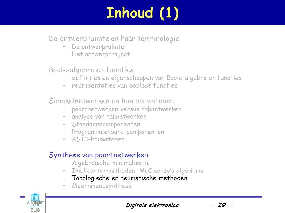 Digitale elektronica --29-- Inhoud (1) De ontwerpruimte en haar terminologie –De ontwerpruimte –Het ontwerptraject Boole-algebra en functies –definiti