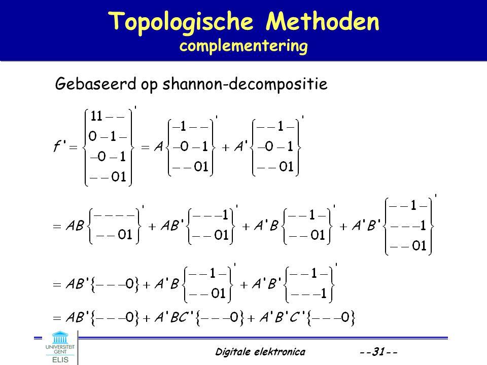 Digitale elektronica --31-- Topologische Methoden complementering Gebaseerd op shannon-decompositie