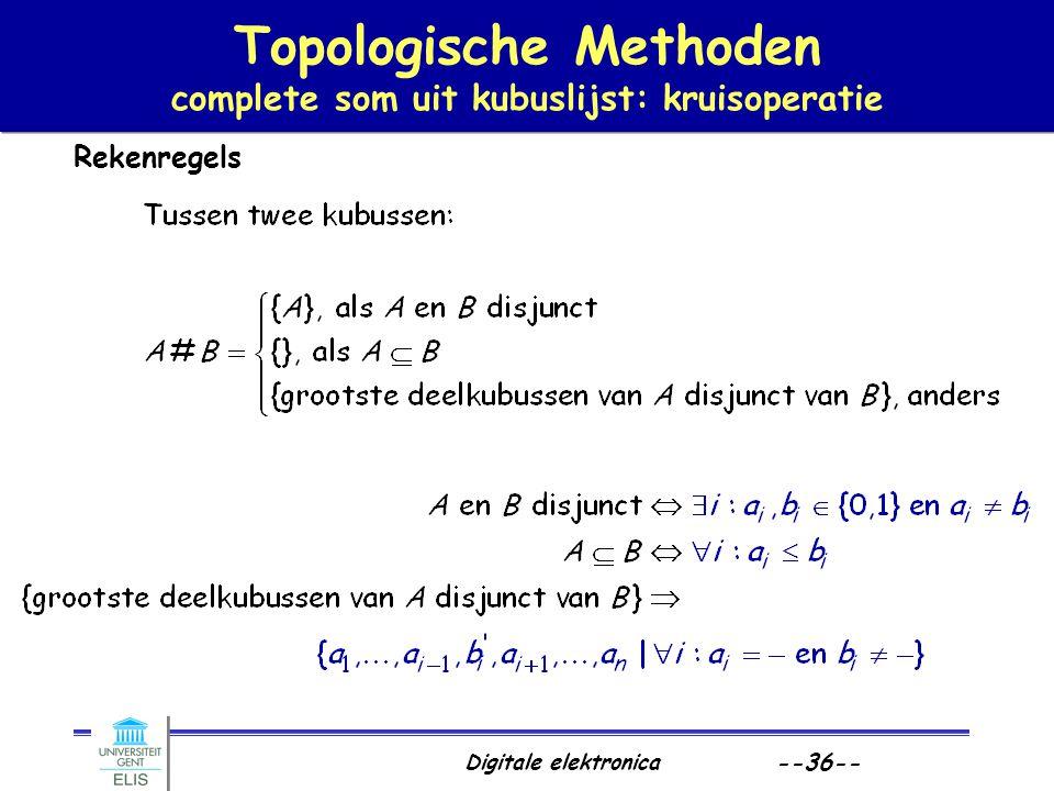 Digitale elektronica --36-- Topologische Methoden complete som uit kubuslijst: kruisoperatie Rekenregels