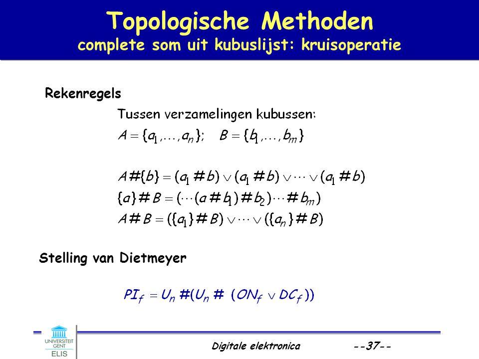 Digitale elektronica --37-- Topologische Methoden complete som uit kubuslijst: kruisoperatie Rekenregels Stelling van Dietmeyer
