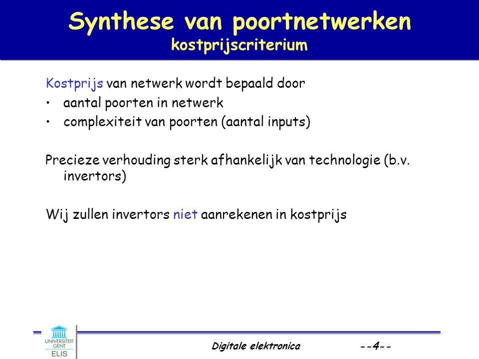 Digitale elektronica --4-- Synthese van poortnetwerken kostprijscriterium Kostprijs van netwerk wordt bepaald door aantal poorten in netwerk complexit