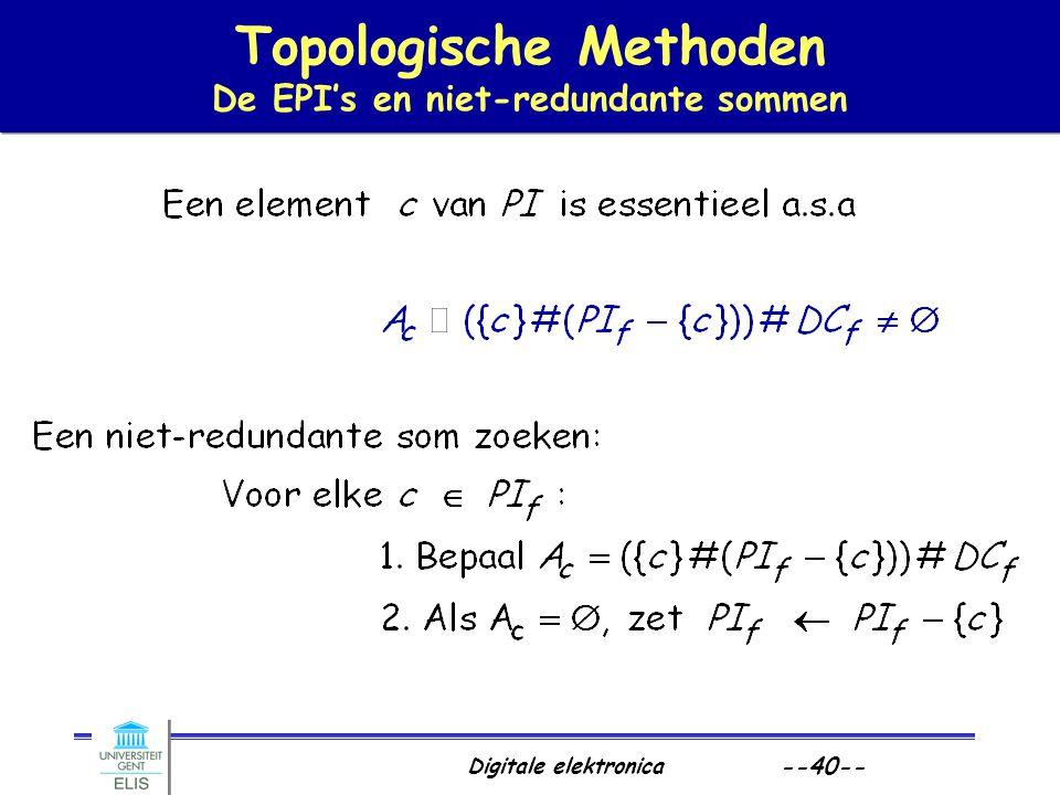 Digitale elektronica --40-- Topologische Methoden De EPI's en niet-redundante sommen