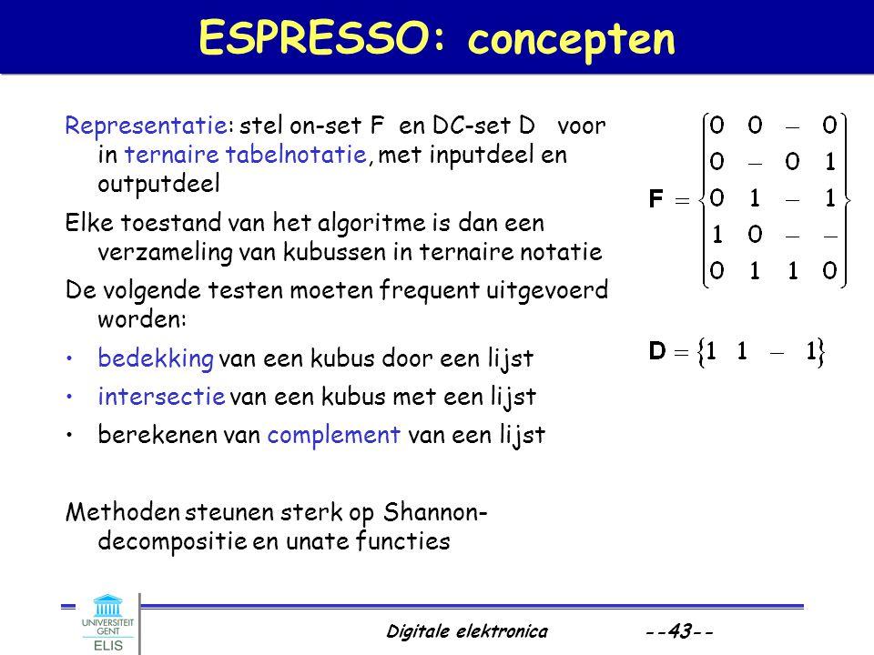 Digitale elektronica --43-- ESPRESSO: concepten Representatie: stel on-set F en DC-set D voor in ternaire tabelnotatie, met inputdeel en outputdeel El
