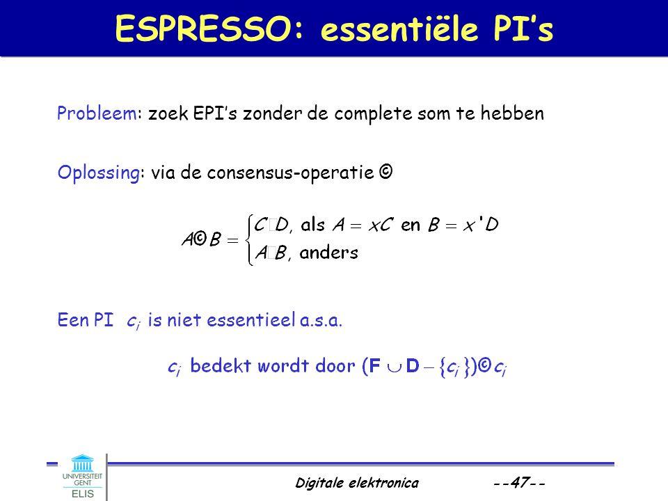 Digitale elektronica --47-- ESPRESSO: essentiële PI's Probleem: zoek EPI's zonder de complete som te hebben Oplossing: via de consensus-operatie © Een