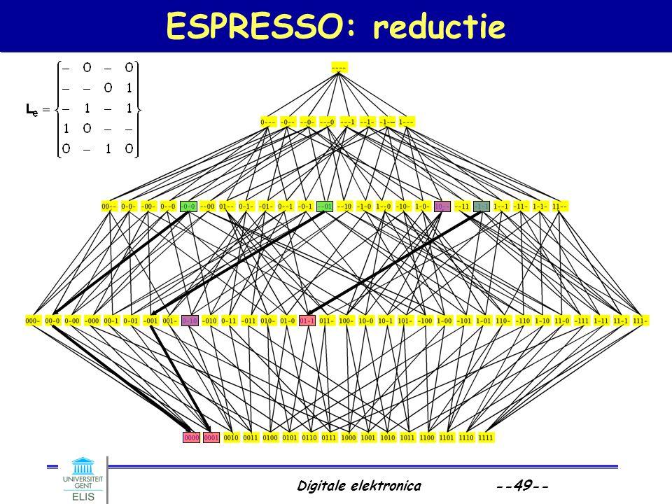 Digitale elektronica --49-- ESPRESSO: reductie