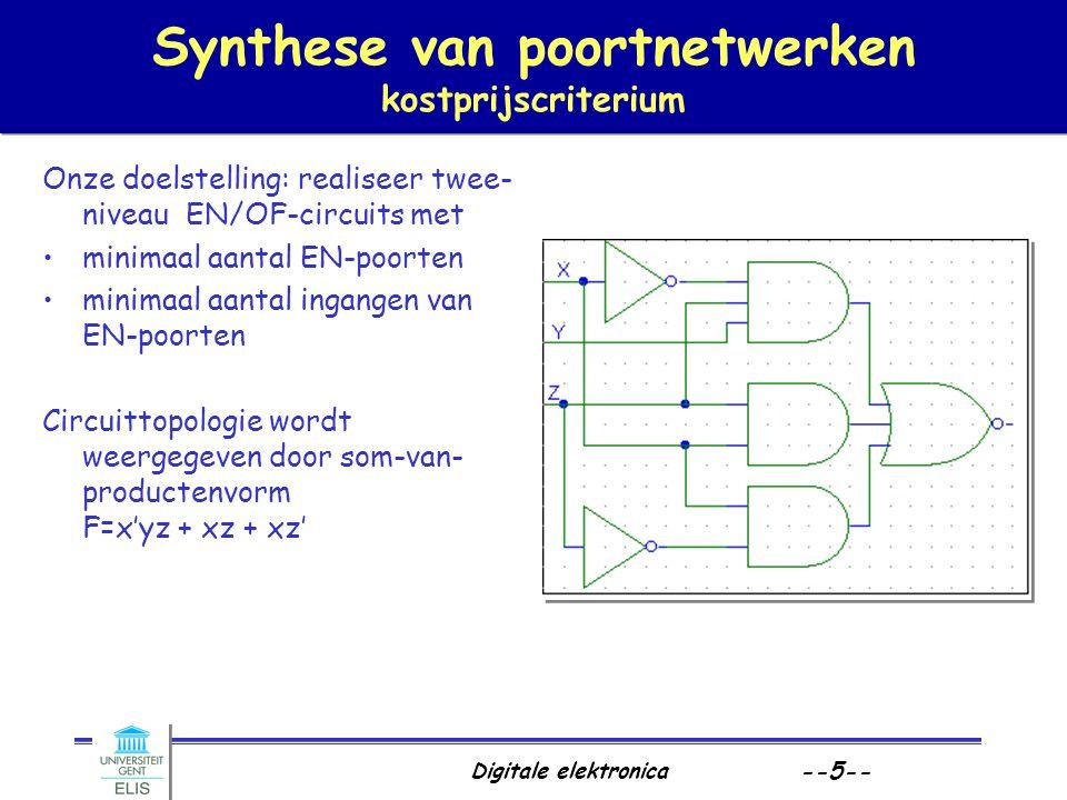Digitale elektronica --5-- Synthese van poortnetwerken kostprijscriterium Onze doelstelling: realiseer twee- niveau EN/OF-circuits met minimaal aantal