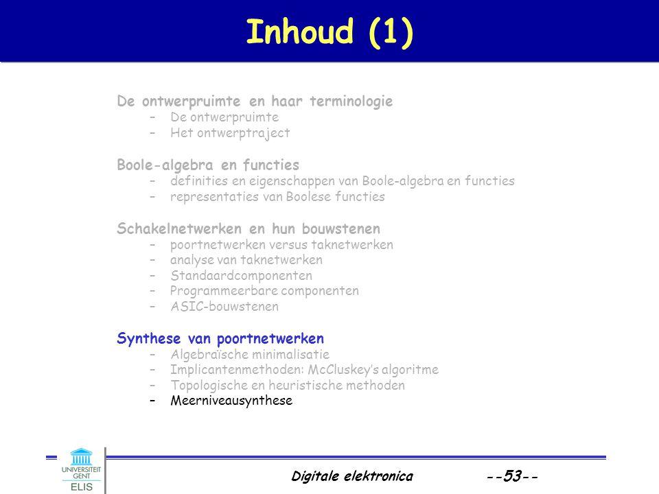 Digitale elektronica --53-- Inhoud (1) De ontwerpruimte en haar terminologie –De ontwerpruimte –Het ontwerptraject Boole-algebra en functies –definiti