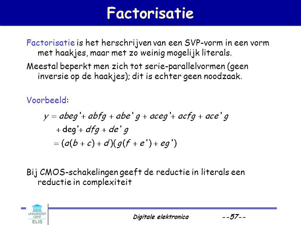 Digitale elektronica --57-- Factorisatie Factorisatie is het herschrijven van een SVP-vorm in een vorm met haakjes, maar met zo weinig mogelijk litera