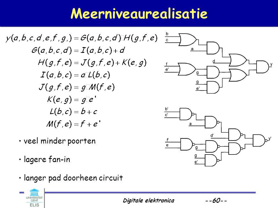 Digitale elektronica --60-- Meerniveaurealisatie veel minder poorten lagere fan-in langer pad doorheen circuit